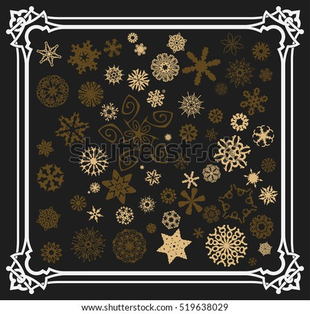 Snowflakes set with old frame