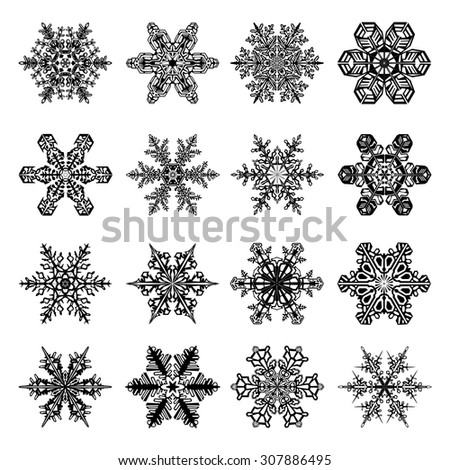 Snowflakes Set with 16 Snow Crystals for Christmas and Winter Design in Black with White Background - stock vector