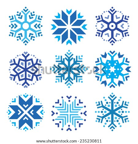 Snowflakes, winter blue icons set  - stock vector