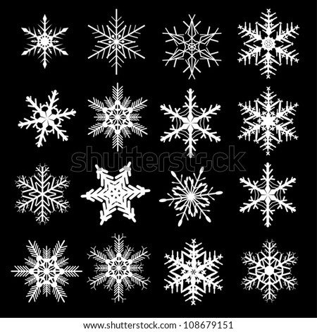 Snowflakes winter set, vector design. - stock vector