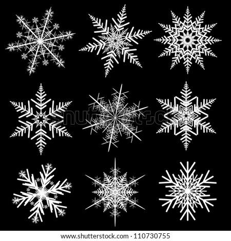 Snowflakes winter set, vector realistic design. - stock vector