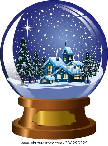 Snowglobe with inside winter christmas nighttime landscape under snowfall isolated - stock vector