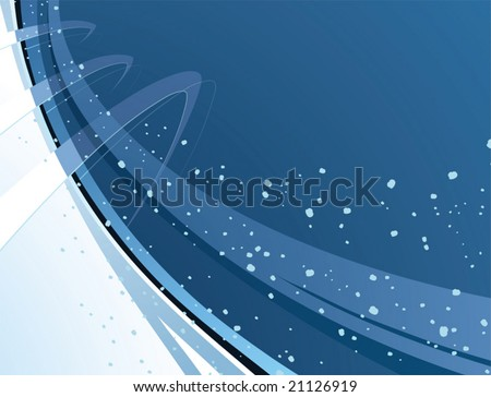 Snowing background with abstract shapes  - horizontal illustration