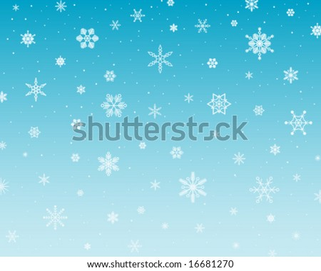 snowing snowflakes on blue background - stock vector