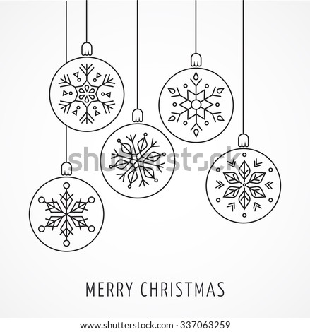 Snowlakes, geometric Christmas ornaments, background