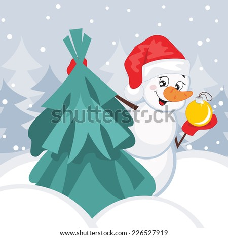 Snowman and Christmas Tree. Vector illustration. Greeting card. - stock vector