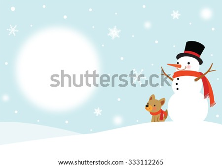 Snowman and Cute Dog - Winter background - stock vector