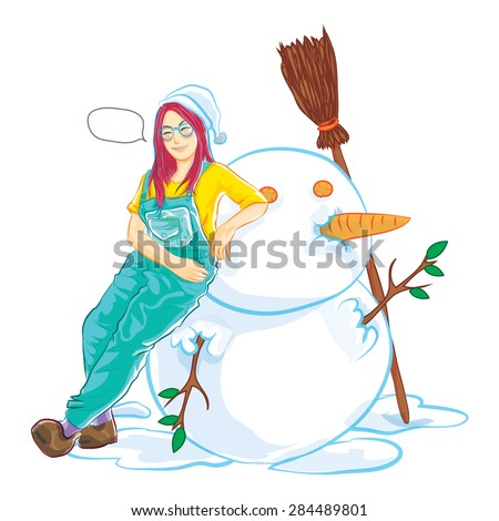 snowman and cute girl - stock vector