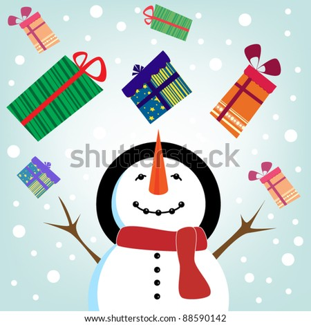 Snowman and gifts rain - stock vector