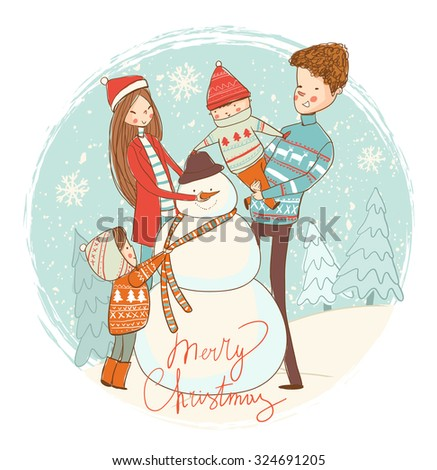 Snowman and happy family. Winter fun. - stock vector
