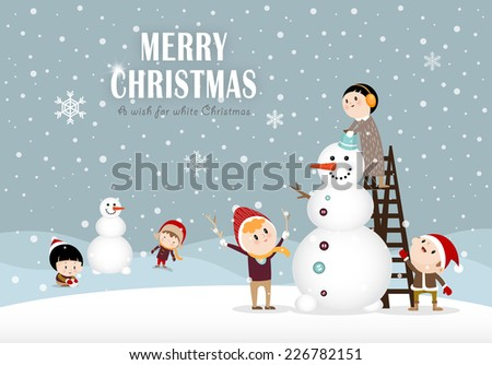 Snowman and kids making a snowman in winter C  - stock vector