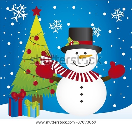 snowman and tree christmas over snow card. vector