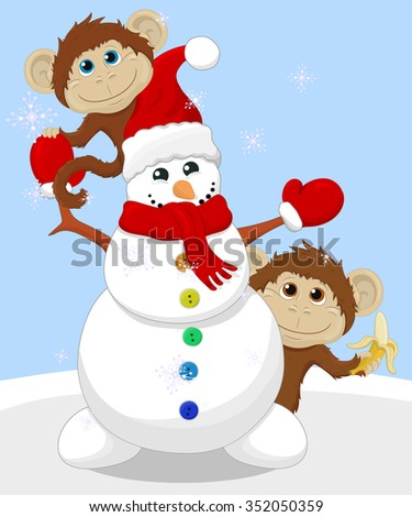 Snowman and two monkey's.Christmas illustration.Vector. - stock vector