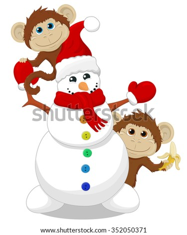 Snowman and two monkey's.Christmas illustration.Vector isolated. - stock vector