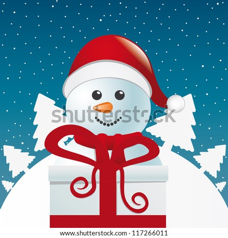 snowman behind gift box white winter landscape