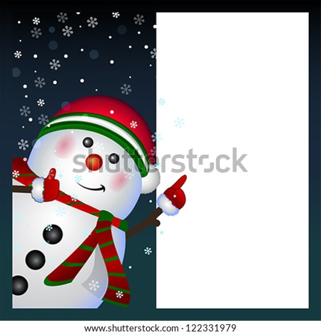 Snowman card background, vector Merry Christmas and Happy New Year
