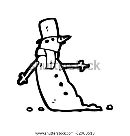 snowman cartoon - stock vector