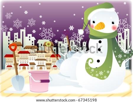 Snowman Character - stock vector