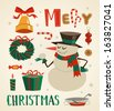 Snowman character and other elements. Christmas background. Vector illustration. - stock