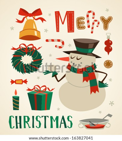 Snowman character and other elements. Christmas background. Vector illustration. - stock vector