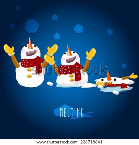 snowman character - vector illustration - stock vector