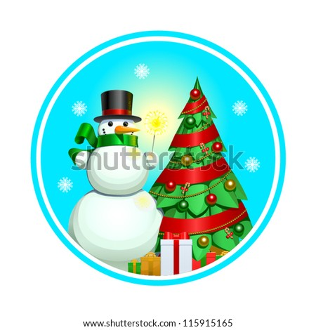 Snowman, Christmas background, vector illustration