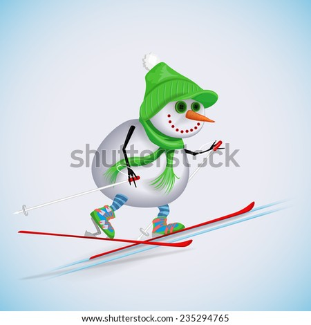 Snowman climbs the hill to the cross-country skiing. Winter fun. Vector illustration. - stock vector