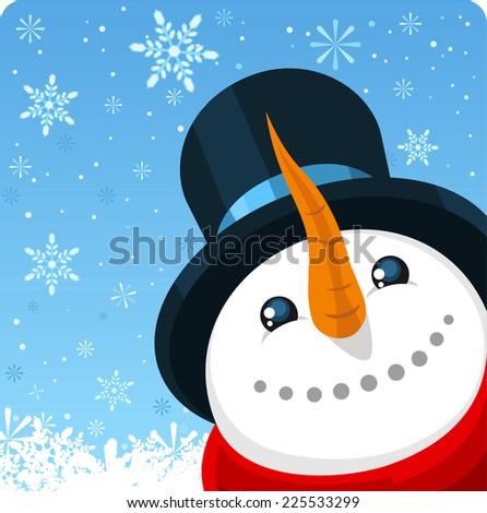 Snowman close up background design vector cartoon illustration - stock vector