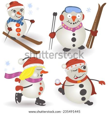 snowman collection - stock vector