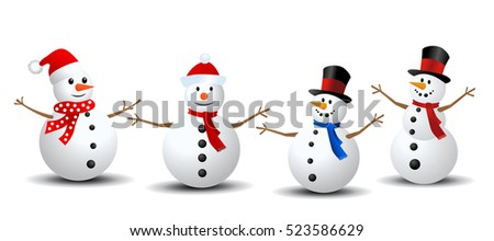 Snowman Collection. Snowman set isolated on white background