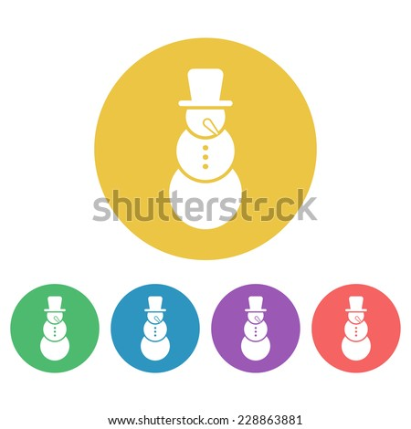 snowman colored round icons - stock vector