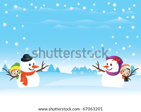 Snowman couple scene with kids. Wide spacing for text. Perfect for any winter holidays or Valentine needs. - stock vector