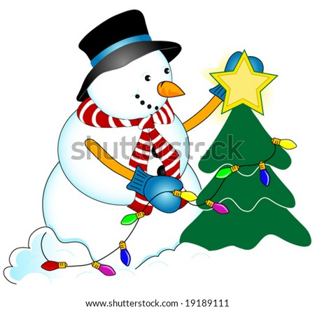 Snowman Decorating a Christmas Tree - stock vector