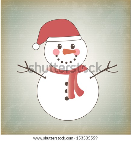snowman design over vintage  background vector illustration