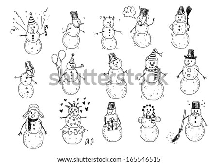Snowman Doodles - stock vector