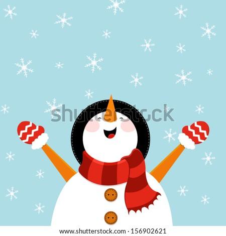 Snowman Enjoying Snow - stock vector