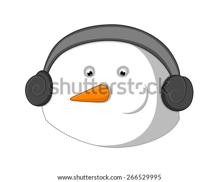 Snowman Face with Headphone - stock vector