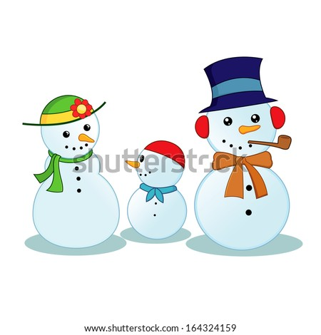 Snowman Family with father, mother and a child, vector illustration