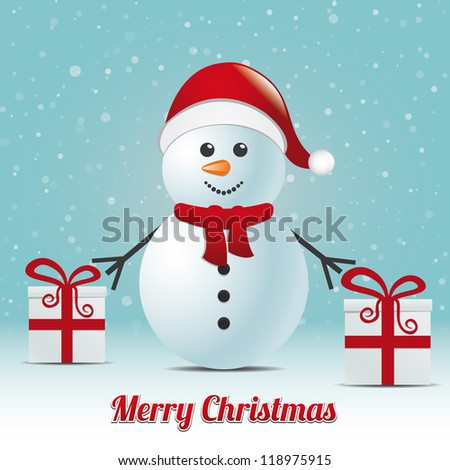snowman gift snowy winter background merry christmas - stock vector