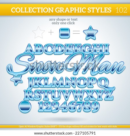 SnowMan Graphic styles can be use for decor, text, title, cards, events, posters, icons, logo and other. Winter, Ice, Snow, Water. - stock vector