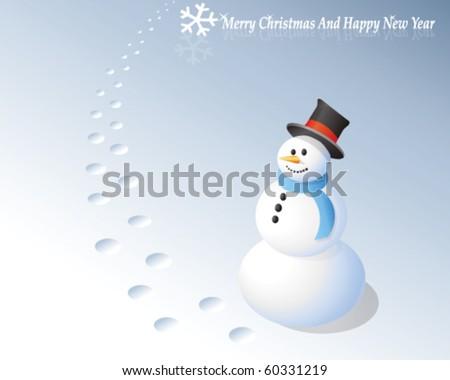 snowman greeting card - stock vector
