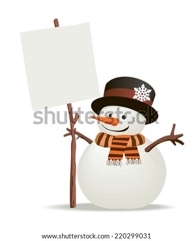 Snowman holds up the snowy message of your choice. Isolated - stock vector