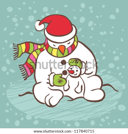 Snowman illustration card. Big snowman and little snowman. - stock vector