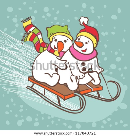 Snowman illustration card. Two snowmen on a sledge. - stock vector