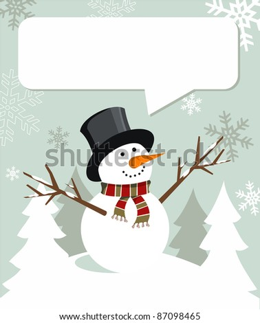 Snowman illustration wearing hat and scarf with dialog balloon on snowy background.  Vector file available.