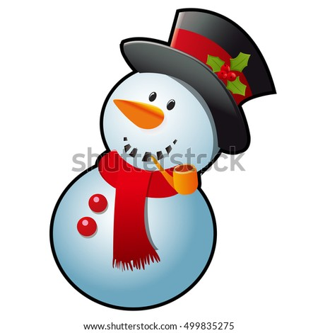 Snowman in a red scarf and black cylinder hat isolated on white background. Sketch for greeting card, festive poster or party invitations.The attributes of Christmas and New year. Vector illustration.