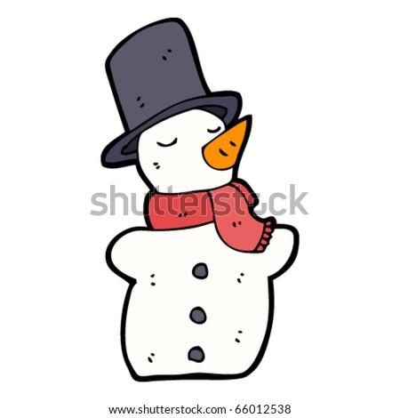 snowman in hat cartoon - stock vector
