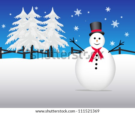 Snowman in snow covered field - stock vector