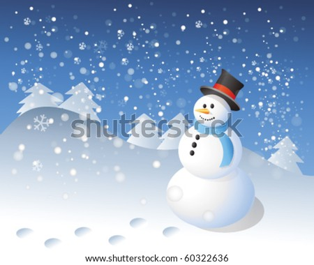 snowman in winter landscape - stock vector