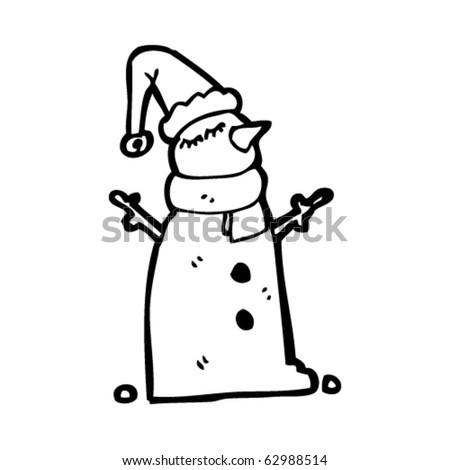 snowman in xmas hat cartoon - stock vector